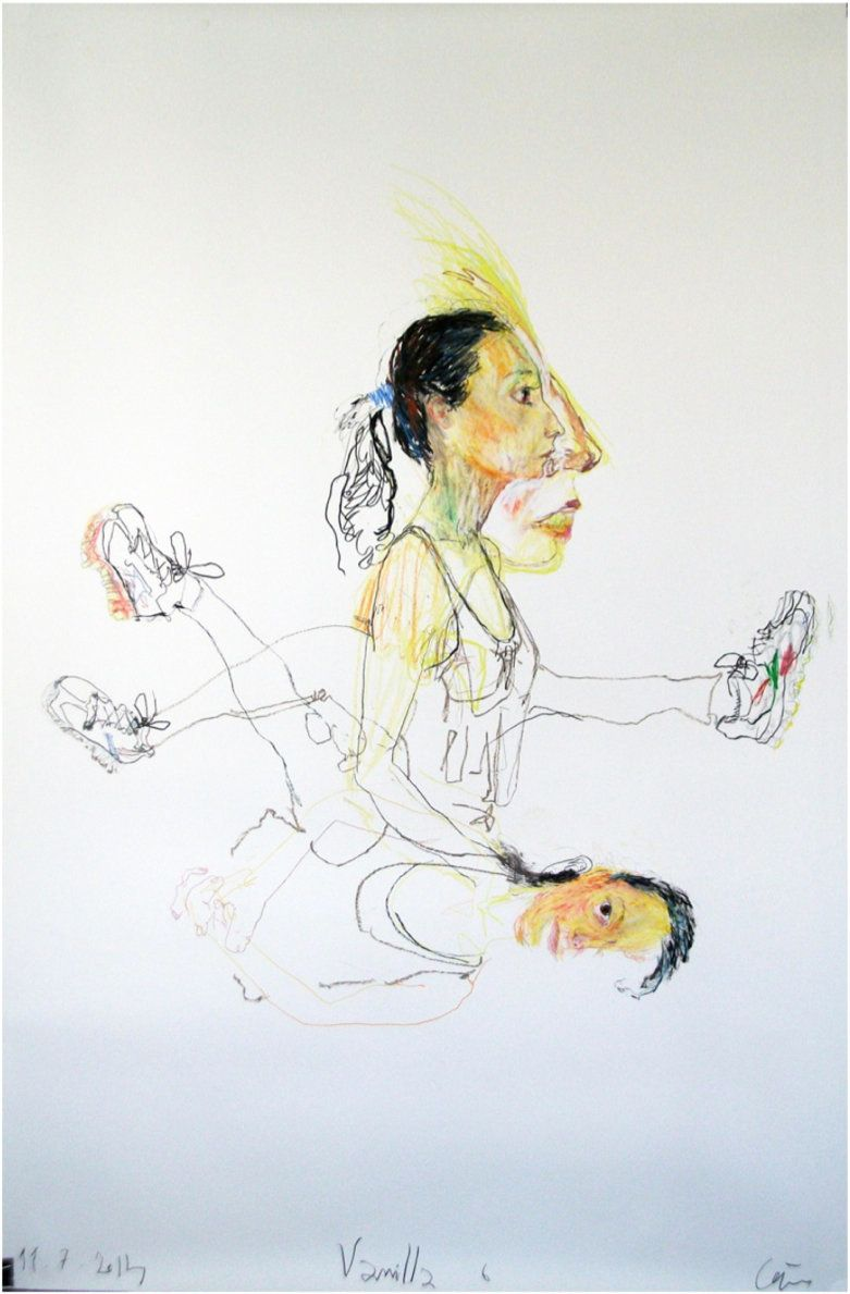 Portrait Vanilla 6, 11.07.2014 Mixed media on paper 93 x 61.5 x 2.5 inches / 236.2 x 156.2 x 6.4 cm Courtesy of the artist