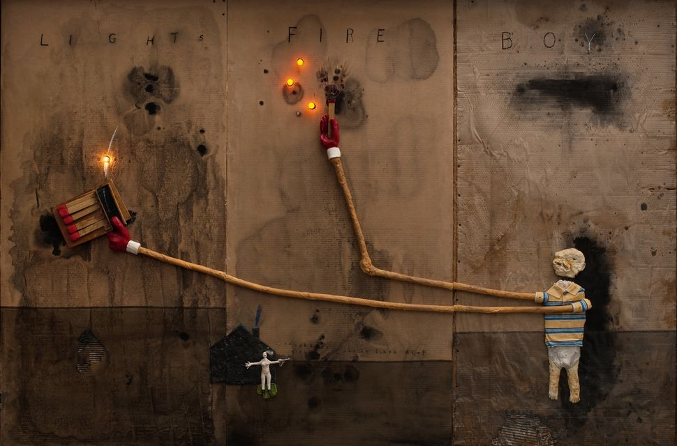 Boy Lights Fire, 2010 , Mixed media on cardboard, 72 x 108 in. Courtesy of the artist.