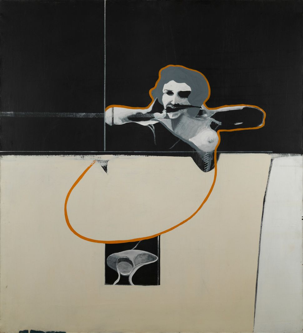 Woman with Screaming Head, 1968 , Acrylic on canvas, 66 x 60 in.  Collection of Rodger LaPelle and Christine McGinnis, Philad