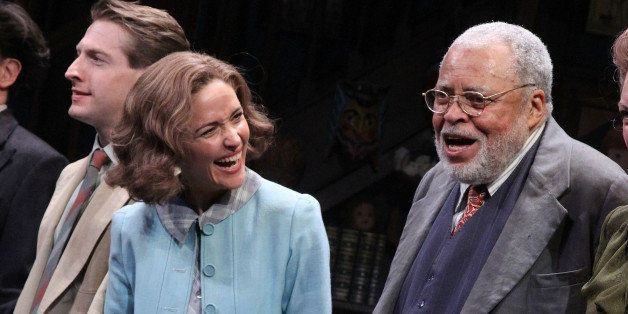 NEW YORK, NY - SEPTEMBER 28:  Rose Byrne and James Earl Jones take their Opening Night curtain call for 'You Can't Take It Wi