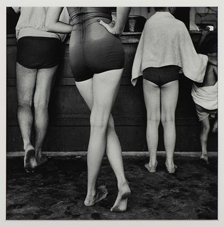 Yasuhiro Ishimoto, Chicago (Woman in Bathing Suit), 1952-53, Gelatin silver print 14 x 11 in., Collection of Martin Z. Margul
