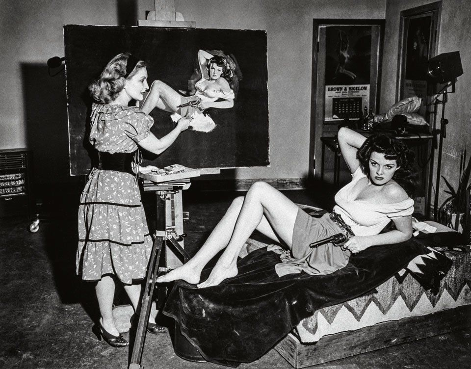 Zoe Mozert painting Jane Russell for The Outlaw film poster