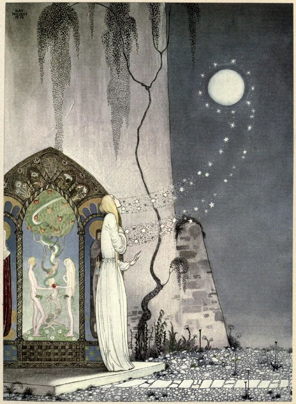 <em>She could not help setting the door a little ajar, just to peep in, when—Pop! out flew the Moon. </em>