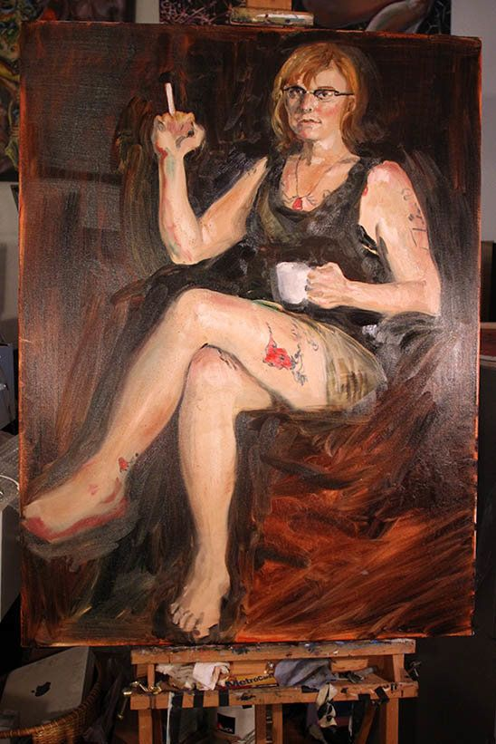 Red Durkin (reddurkin.com), in progress, oil on canvas, 30x40in, 2014