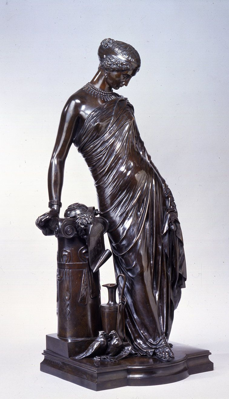 Jean Jacques Pradier, Standing Sappho, 1848-1851, Bronze, 33.875 x 14.563 x 13. In. The Dahesh Museum of Art, New York.
