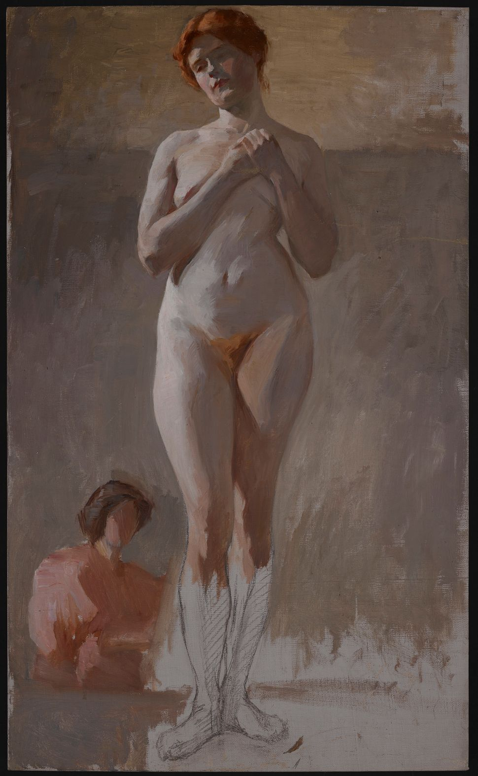 Florine Stettheimer, Nude Study, Standing with Hands Clasped, late 1890s, Oil on canvas mounted on board, 30 x 18 in. Columbi