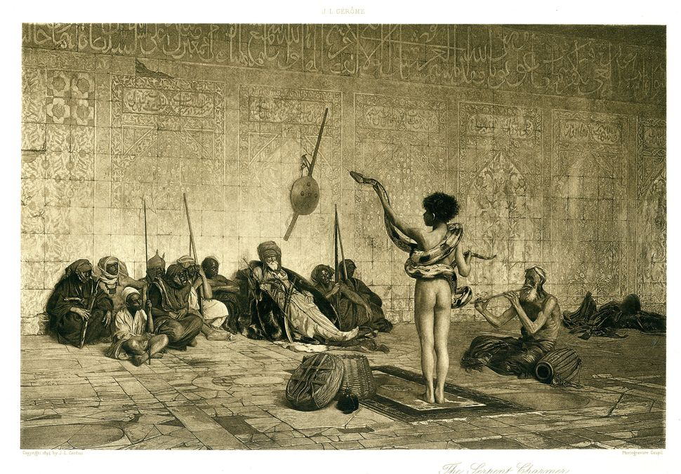 Jean-Leon Gerome, The Serpent Charmer, 1894, Photogravure, 7.75 x 11.75 in. Museum Purchase.  Collection of Leslie-Lohman Mus