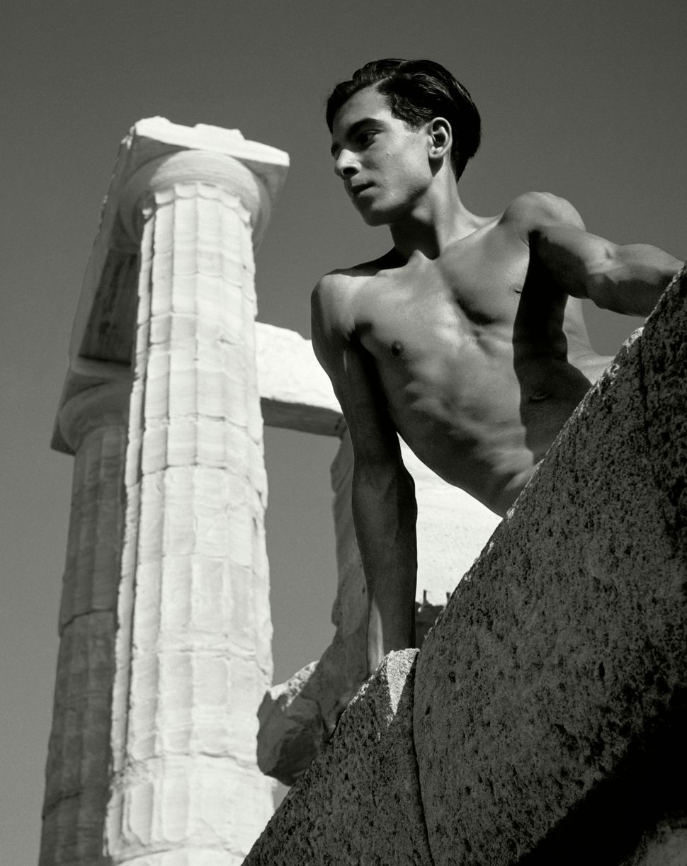 Herbert List, Beneath the Poseidon Temple, 1937, Silver gelatin print, 11.614 x 10.827 in. © Herb Ritts Foundation. Collectio