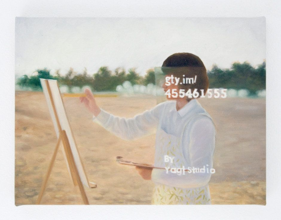 Woman drawing the oil painting on the beach  royalty free image