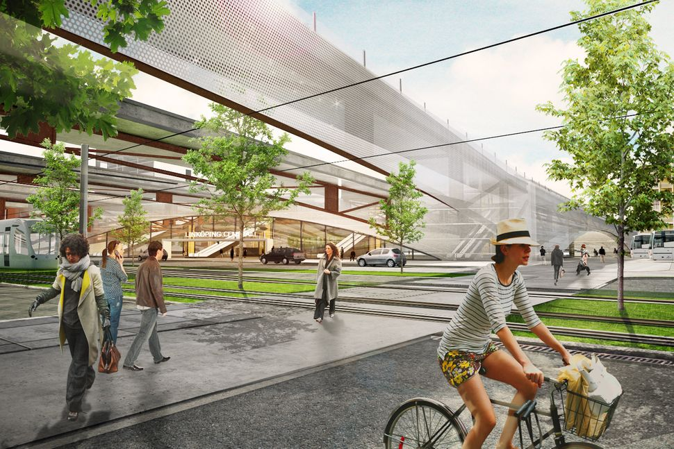 <strong>Linkoping Central Station by Sweco Central Architects.</strong> There's a water mirror, a contemporary viaduct and a