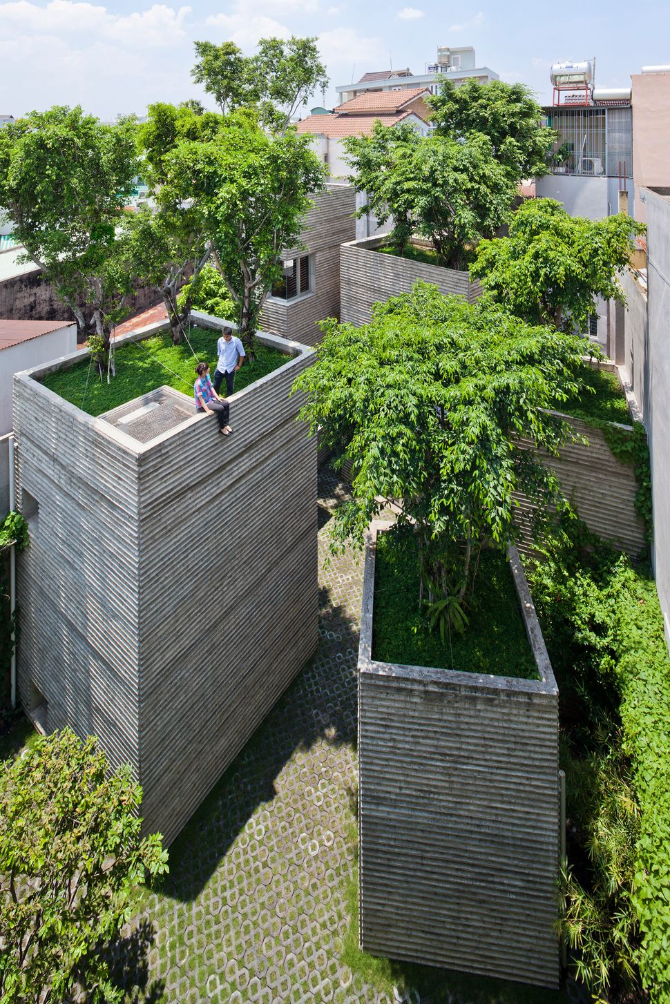 House for Trees by Vo Trong Nghia Architects. In Ho Chi Minh City, only 0.25% of the entire city is covered with greenery. So