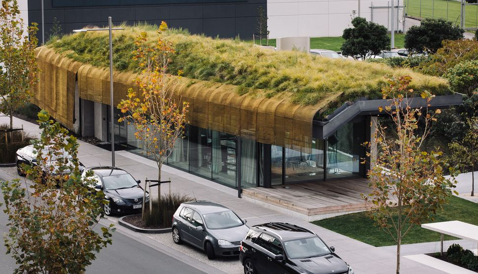 "Te Kaitaka 'The Cloak' by Fearon Hay Architects. The architecture firm has built upon this structure a ""contoured living gree"