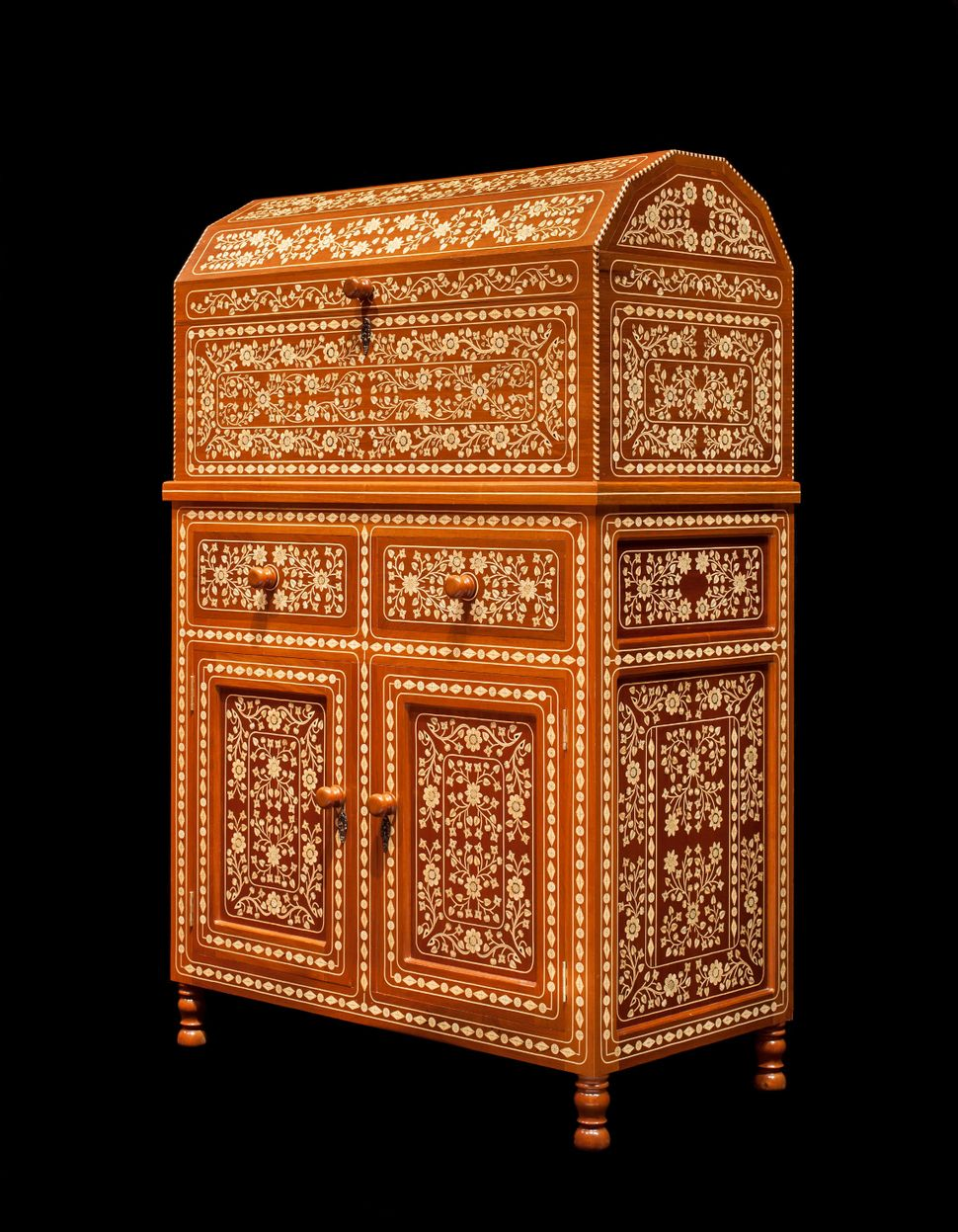 Francisco Aguirre Tejeda Chest on Cabinet, 2000 Carved, assembled and inlaid wood 