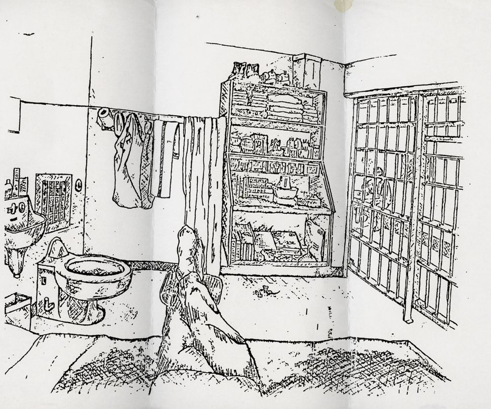 Sketch of a death row cell interior by a then 32-year-old man who has been serving time on death row for over 13 years.