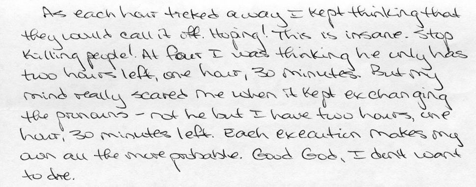 Letter written in 2010 by a man on death row in Mississippi, describing a fellow inmate's execution. Two years later his exec