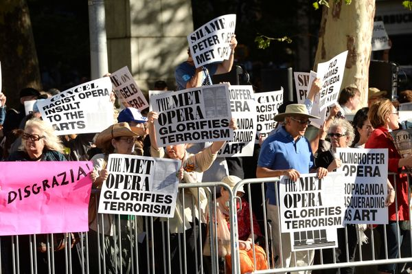 Protestors attend the arrivals at Metropolitan Opera 2014-15 Season Opening on Monday, Sept. 22, 2014, in New York. The crowd