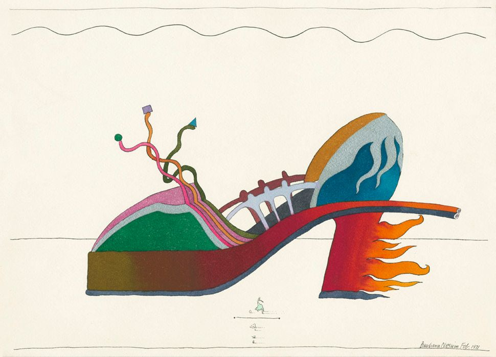 Barbara Nessim. Fire Engine Heel, 1971. Pen and ink, watercolor. Victoria & Albert Museum, E.38-2013.