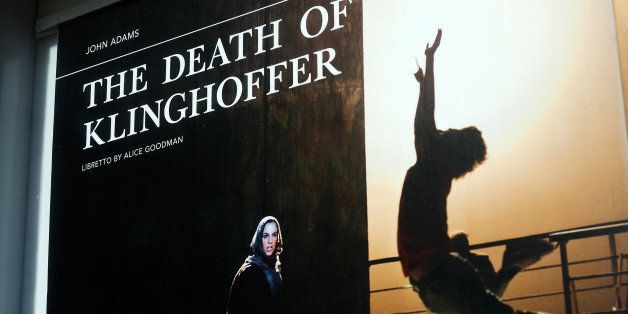 NEW YORK, NY - OCTOBER 20: Signs promote 'The Death of Klinghoffer' outside the Metropolitan Opera  at Lincoln Center on Octo
