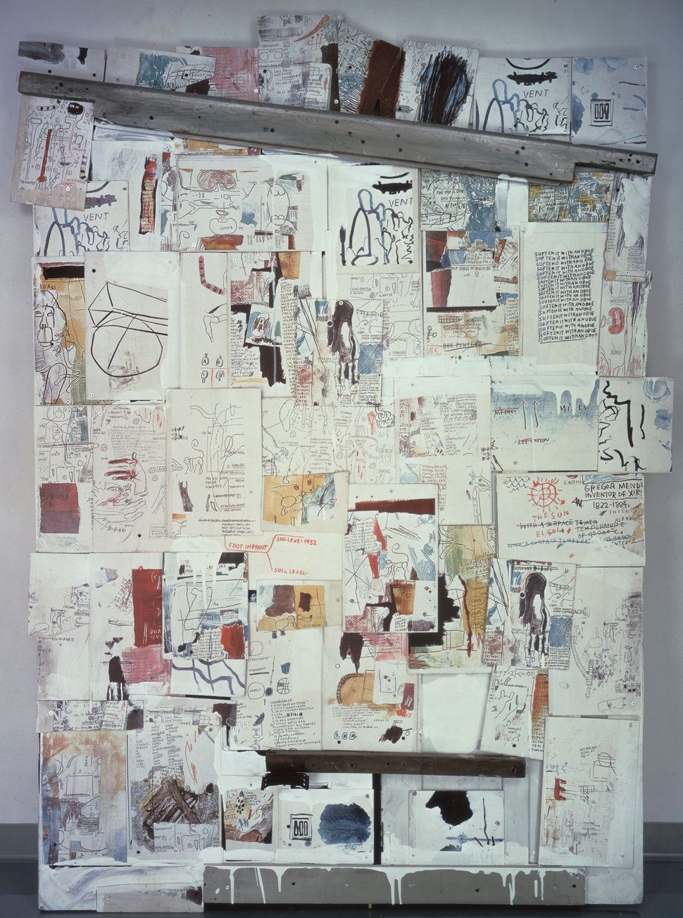 "Jean-Michel Basquiat  Natchez, 1985 Acrylic, wood and color xeroxes on plywood mounted on wooden doors 85"" x 60.63"" x 4"" Gale"