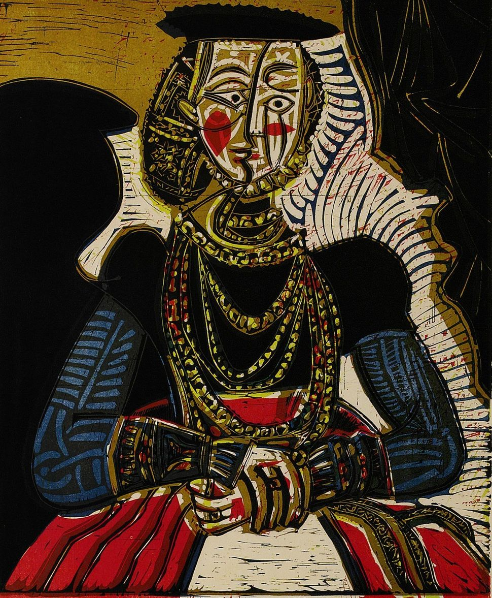 Pablo Picasso, Portrait de Jeune Fille, D'Apres Cranach le Jeune, II, Linoleum cut printed in colors. 1958, signed in pencil,
