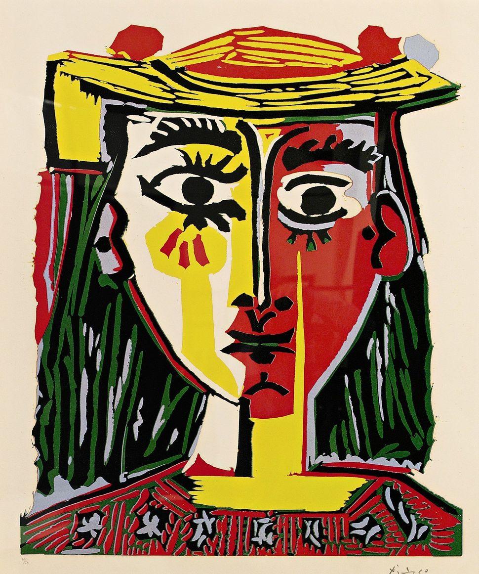 Pablo Picasso, Portrait de femme au chapeau a pompons et au corsage imprimé, Linoleum cut printed in colors, 1962, 630 by 530