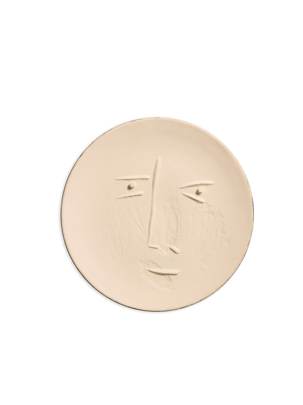 Pablo Picasso, Visage de face (Alain Ramié 442), Terre de faïence plate, 1960, incised 56/100 and U 100, partially galzed, wi