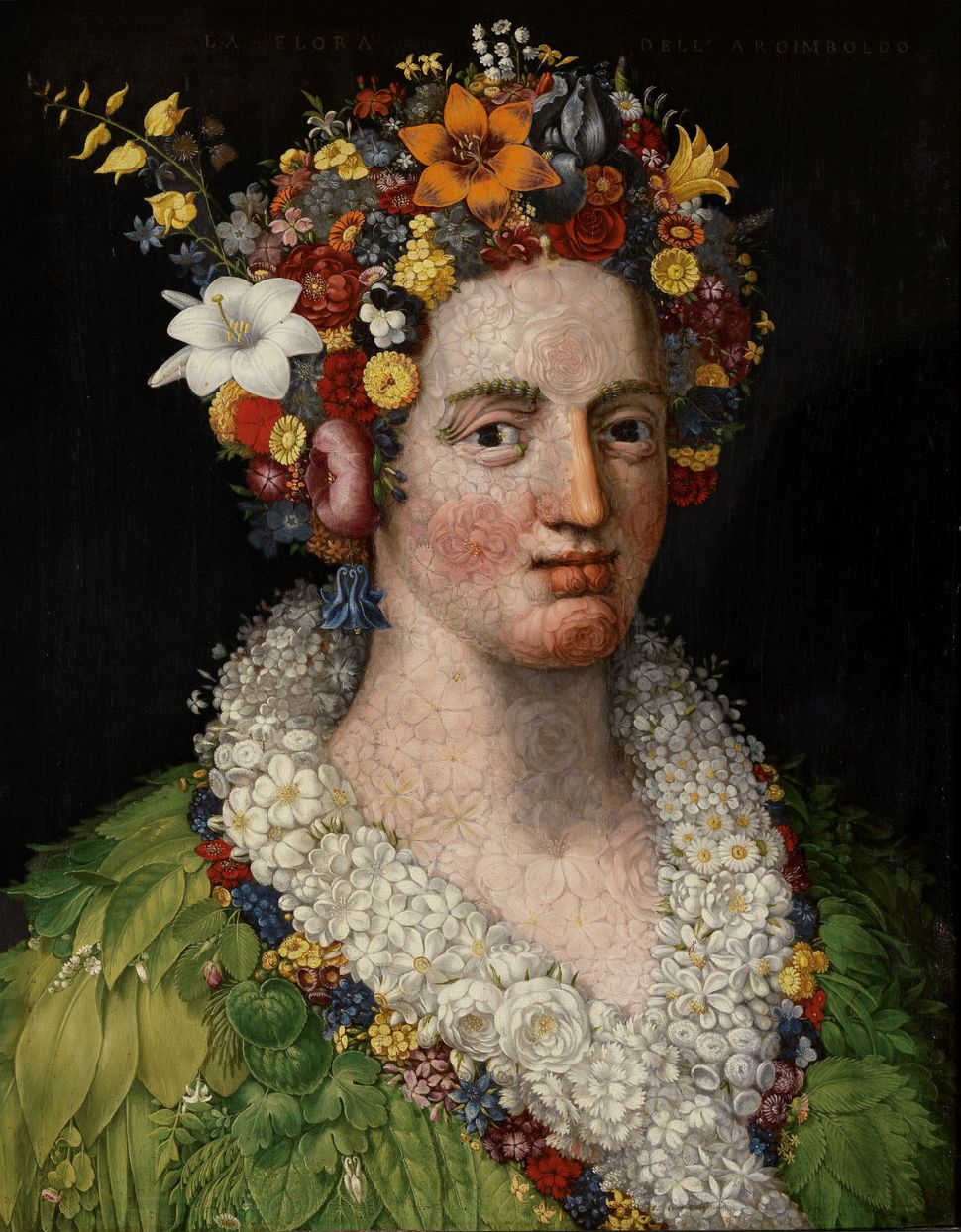 "Giuseppe Arcimboldo, ""Flora,"" 1589, Oil on panel, 74,5 x 57,5 cm (excl. frame), Private collection © photograph: Fernando Ram"