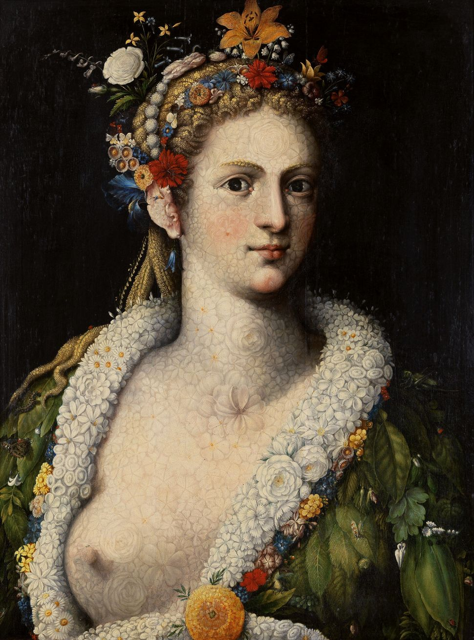 "Giuseppe Arcimboldo, ""Flora meretrix,"" ca. 1590, Oil on panel, 80,5 x 61 cm (excl. frame), Private collection © photograph: F"