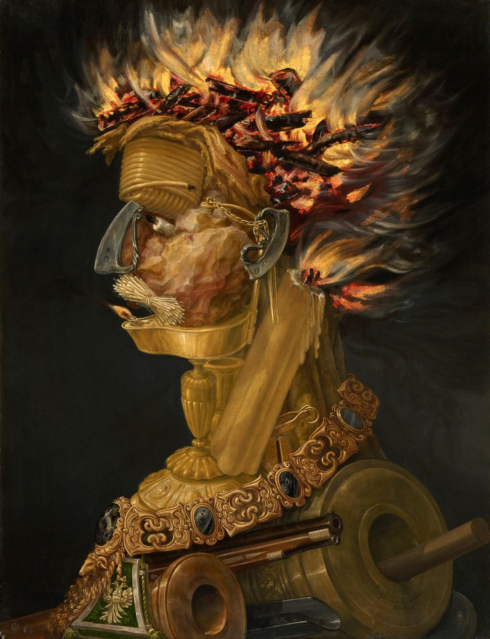 "Giuseppe Arcimboldo, ""Fire,"" 1566, Oil on panel, 66,5 cm x 51 cm © KHM"