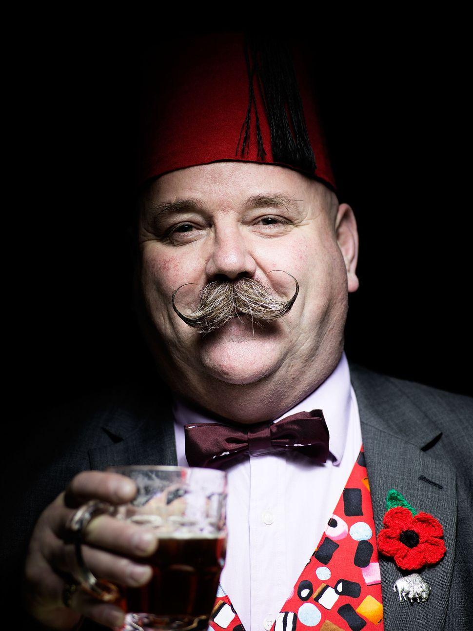 Handlebar Club member Mark East, sporting a classic handlebar moustache.