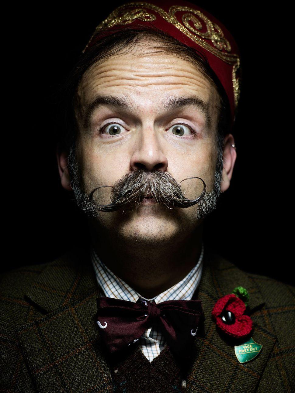 Handlebar Club member Aaron Burns, with a classic handlebar moustache.