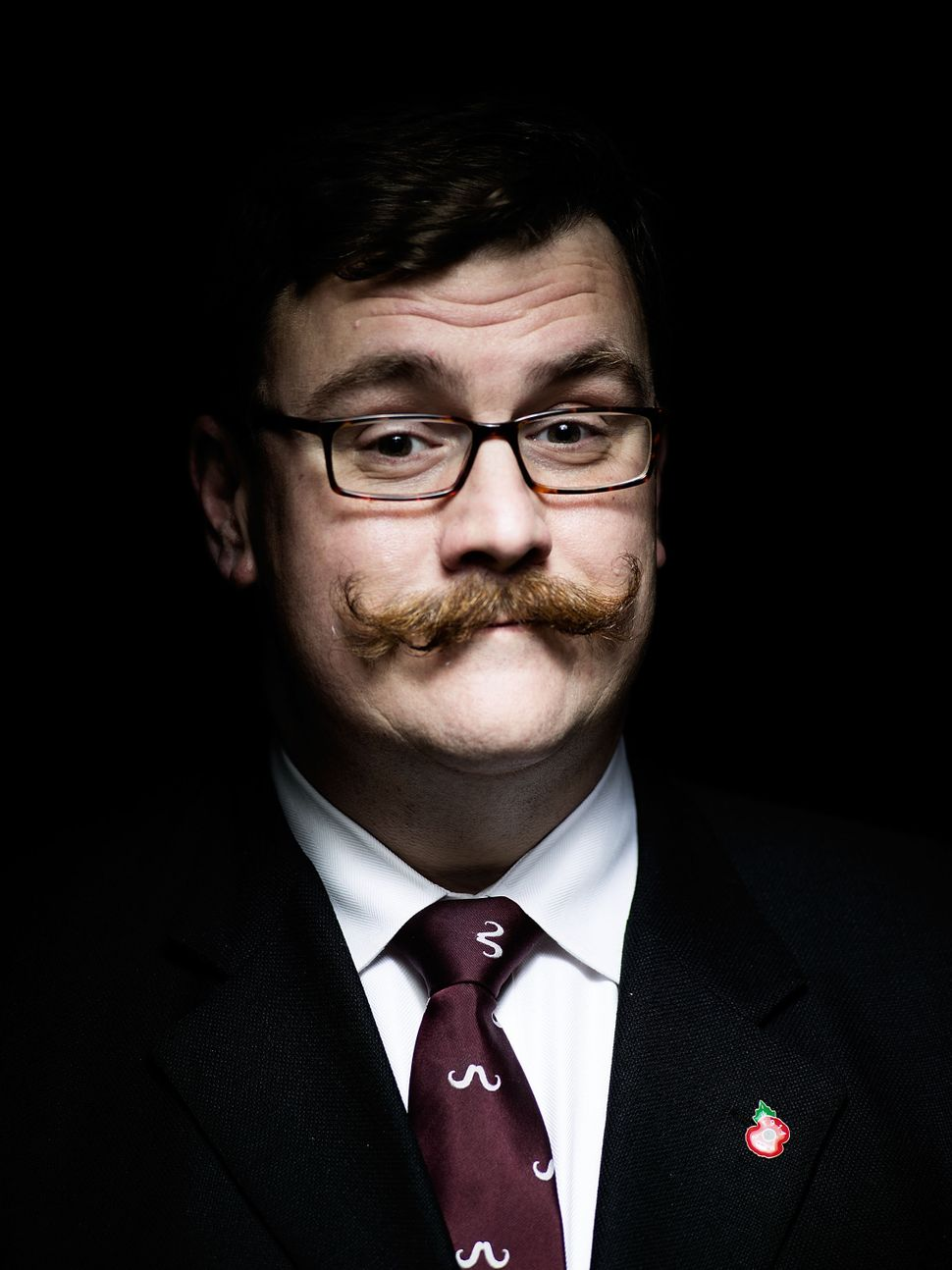 Handlebar Club member Ryan Pike, sporting an unwaxed classic handlebar moustache.