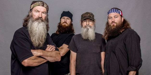 This 2012 photo released by A&E shows, from left, Phil Robertson, Jase Robertson, Si Robertson and Willie Robertson from