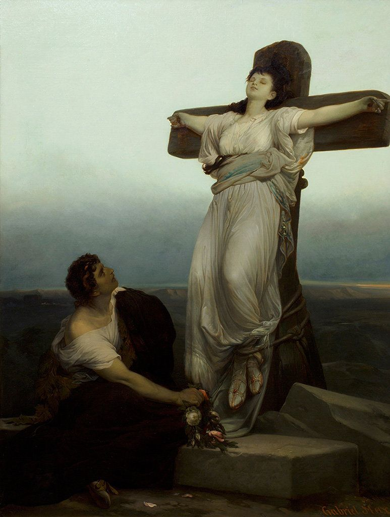 Gabriel von Max. The Christian Martyr, 1867. Oil on paper affixed to canvas. 48 x 36 3/4 in. Frye Art  Museum, Charles and Em