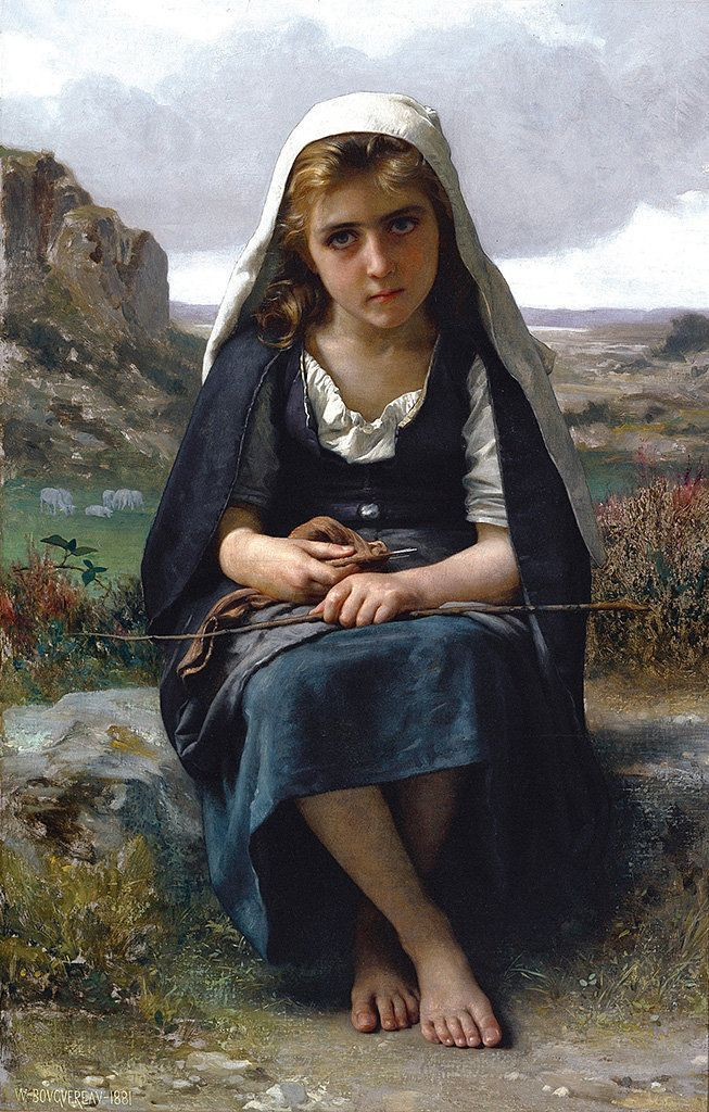 William-Adolphe Bouguereau. Gardeuse de moutons (The Shepherdess), 1881. Oil on canvas. 46 x 28 1/2  in. Frye Art Museum, Cha