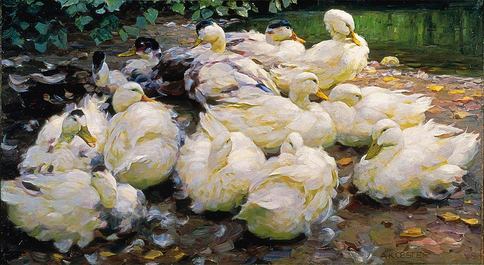 Alexander Max Koester. Moulting Ducks, ca. 1900. Oil on canvas. 28 3/8 x 51 3/8 in. Frye Art Museum,  Charles and Emma Frye C