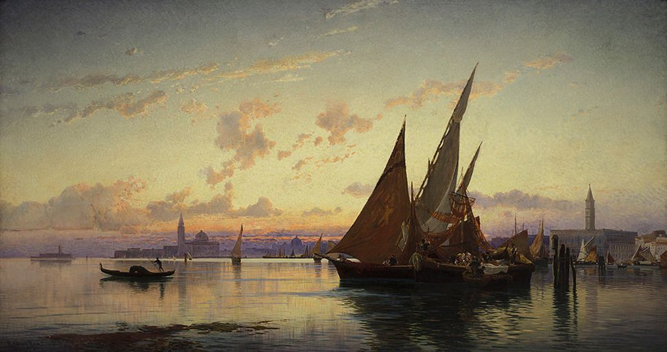 Hermann Corrodi. Venice, ca. 1900. Oil on canvas. 49 1/4 x 91 1/4 in. Frye Art Museum, Charles and  Emma Frye Collection, 195