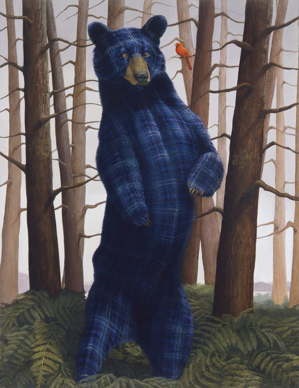 Sincerity and Empathy (Black Bear and Cardinal) 2014 Oil on linen 55 x 72 inches 139.7 x 182.9 cm LS 14/006