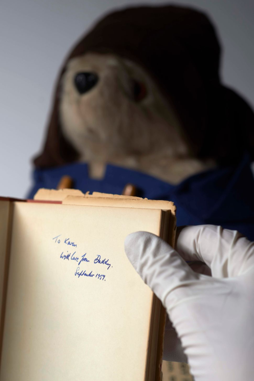 Signed 1st edition copy of 'A Bear Called Paddington' belonging to Michael Bond's daughter (1958).