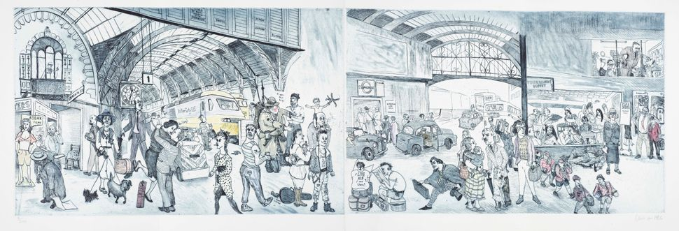 The New Microcosm of London Paddington Station etching by Chris Orr (1986).