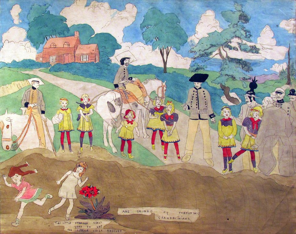Henry Darger, Are Seized by Pursueing [sic] Glandelinians. 19 x 48 inches overall (image is detail of one panel) carbon trans