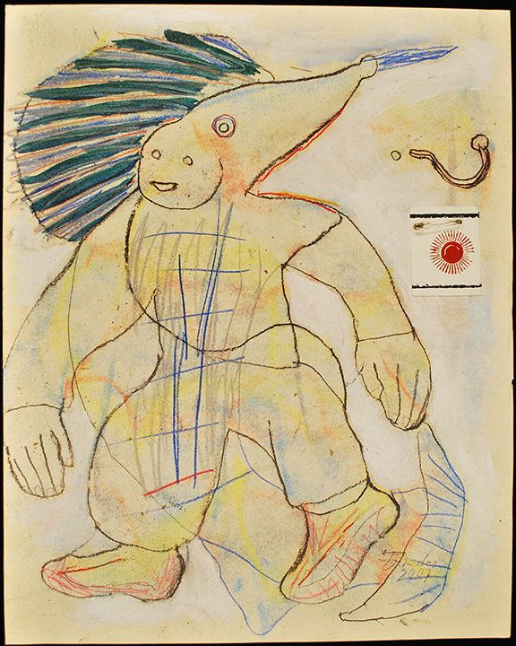 Andrew Frieder, Untitled (Fish Man), 2007. mixed media on paper 16 x 20 inches Courtesy The Good Luck Gallery