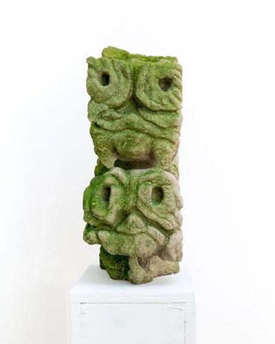 Jerry The Marble Faun, Pairs (Big Edie and Little Edie), 2009. Limestone and moss 13 1/2 x 19 x 6 ½ inches Courtesy Jackie Kl