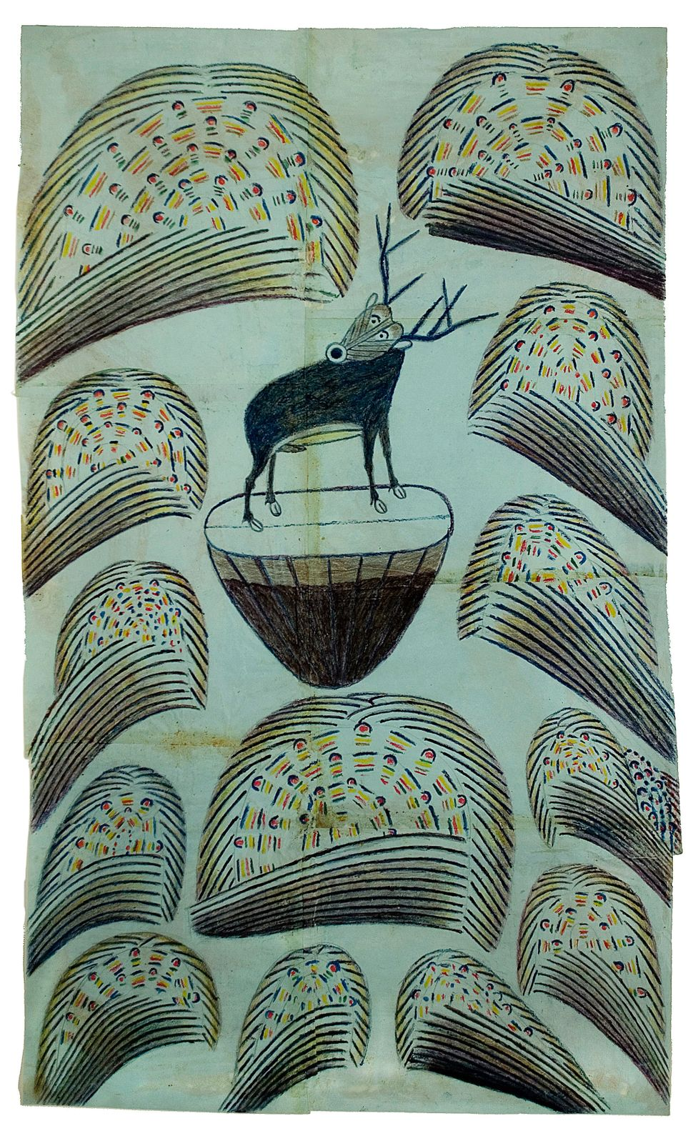 Martín Ramírez, Untitled, (Stag on mound with fireworks), c.1952-53. graphite, tempera and crayon on paper 32 x 19 1/2 inches