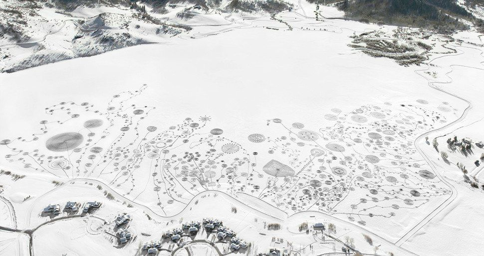 "Snow Drawings at Catamount Lake, Colorado, 2013. ""Snow Drawings at Catamount Lake was created during the 3 days between Frida"