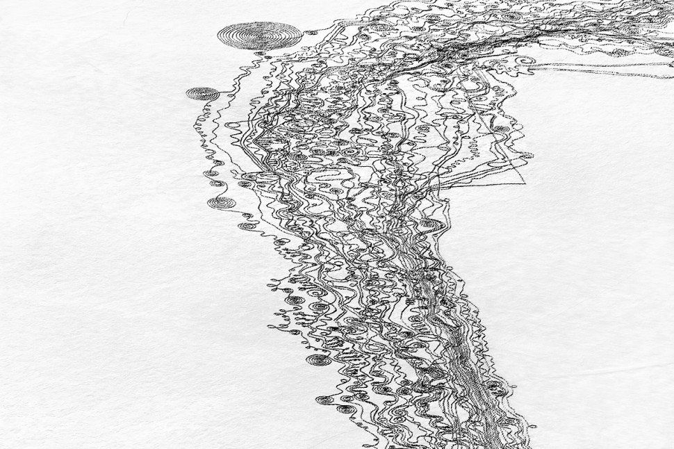"We Are The Water -- Snow Drawing project, Colorado, 2014. ""This Snow Drawings piece was created with approximately 50 volunte"