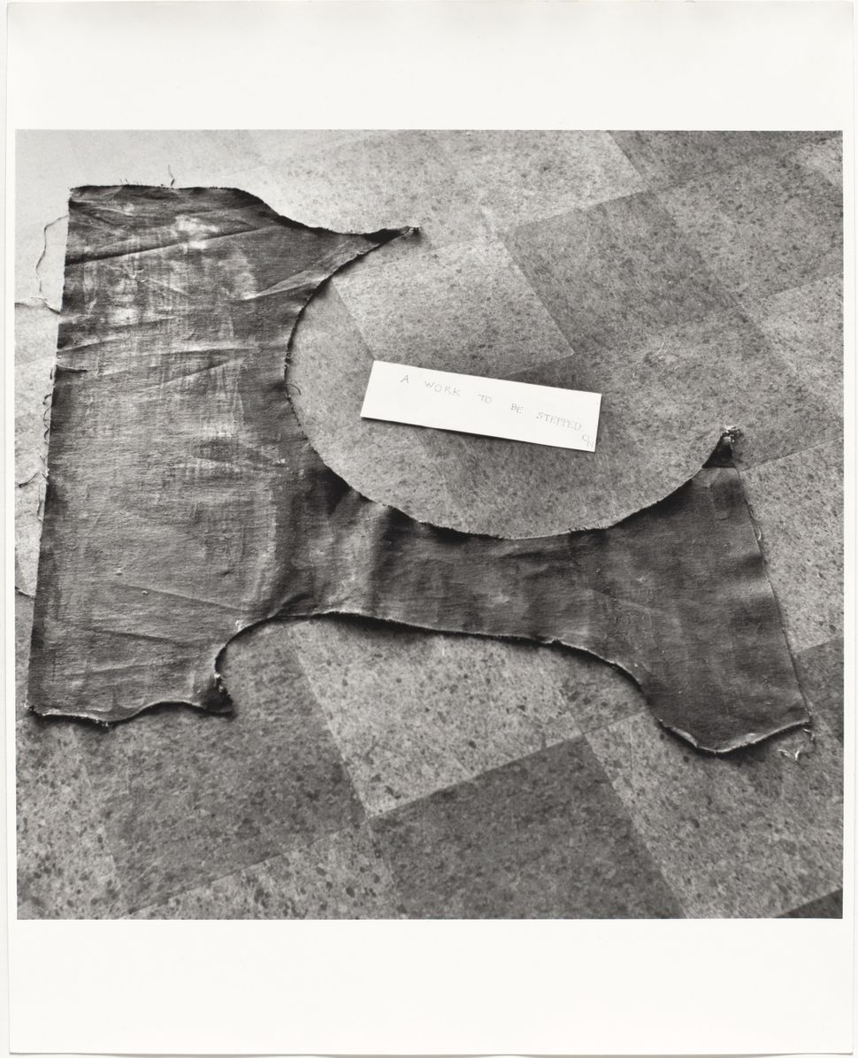 Painting to Be Stepped On. 1960/1961. Installation view, Paintings & Drawings by Yoko Ono, AG Gallery, New York, July 17–30,