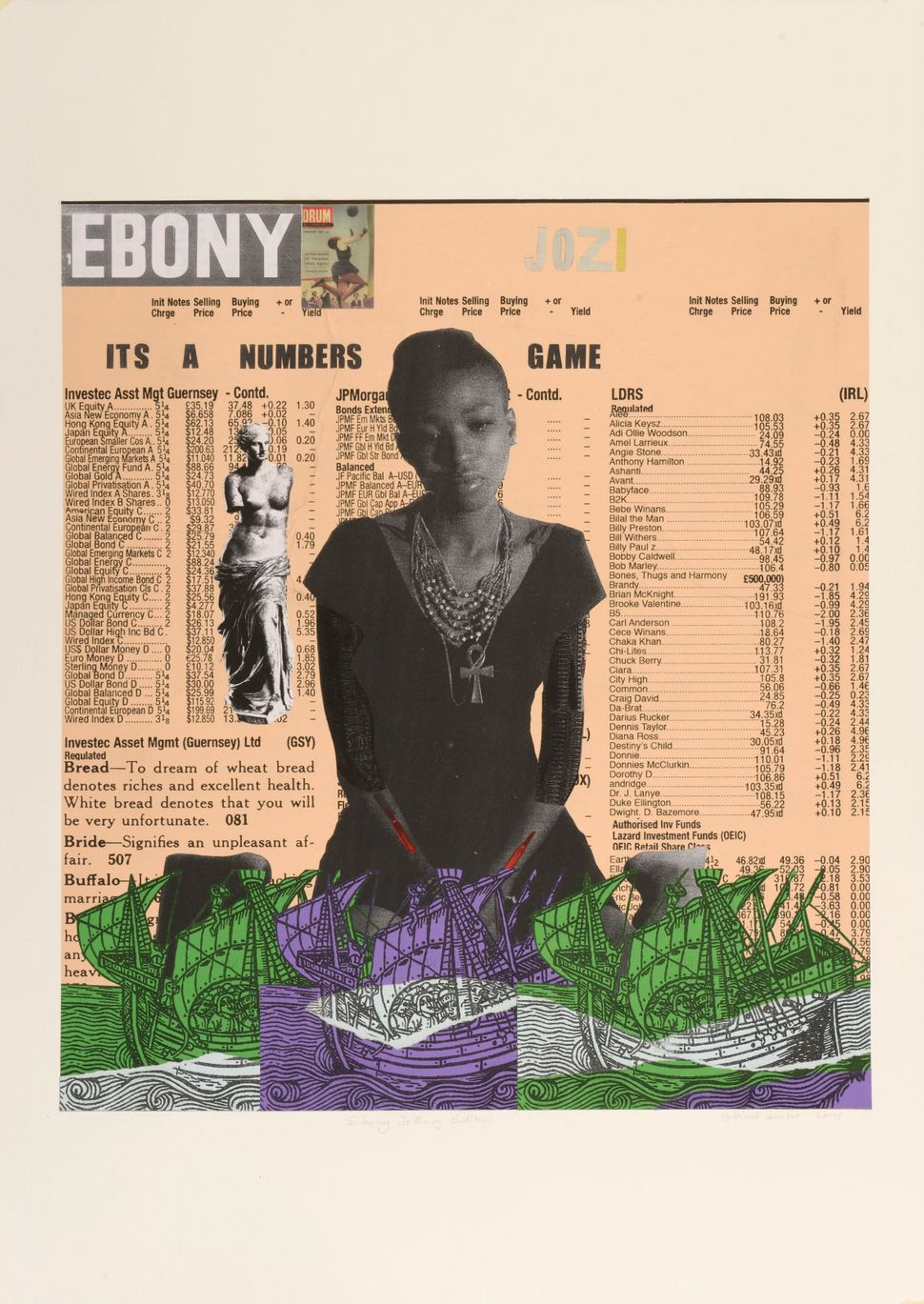 Godfried Donkor<br> Ebony Jo'burg edition, 2014 Collage on paper 27 1⁄2 × 39 9/25 in. Courtesy the artist