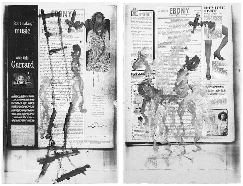 Purvis Young<br> Horses on Ebony, 1994 Paint on copy of Ebony magazine 17 × 11 in. each, diptych Courtesy Skot Foreman and th