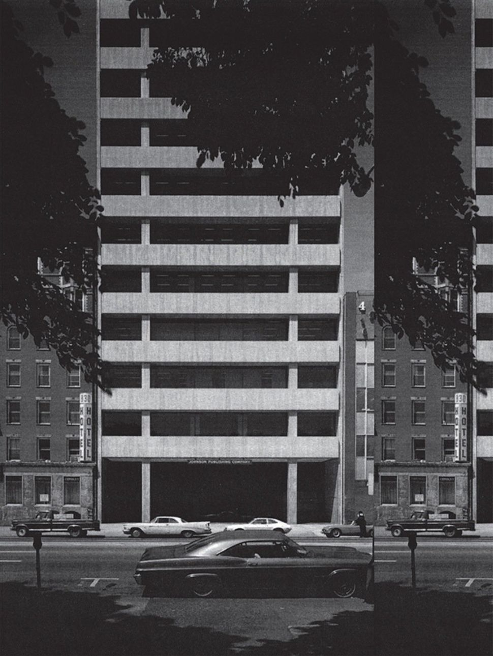 Martine Syms<br> Johnson Publishing Company Building, 1971, 2013 Altered archival photograph 18 × 24 in. Courtesy the artist